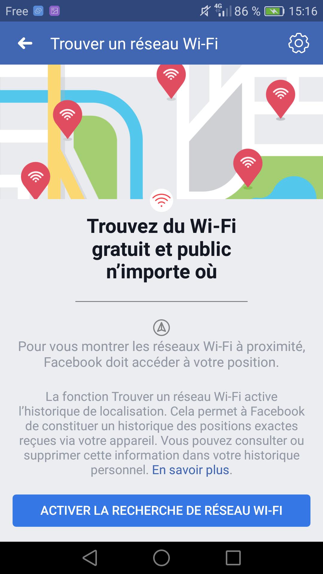 Trouver WiFi gratuit avec Facebook