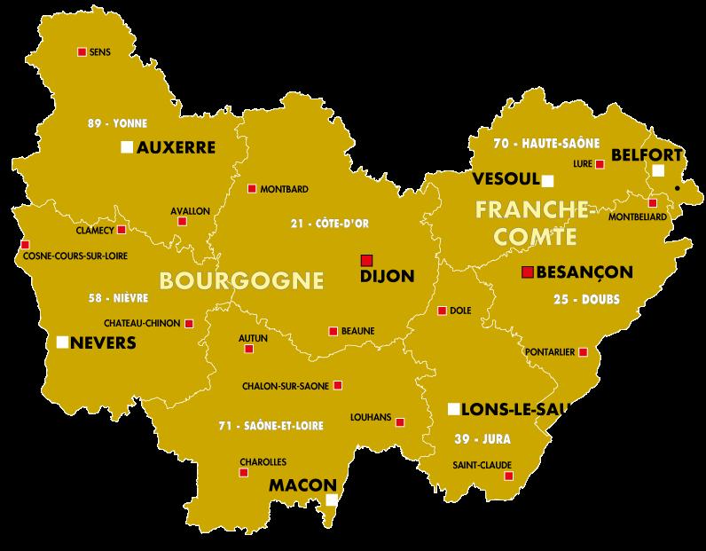 Dijon, Besançon, Nevers, Auxerre, Mâcon, Lons Le Saunier, Vesoul, Belfort