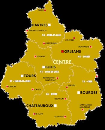 Orléans, Bourges, Chateauroux, Tours, Chartres