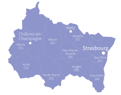 Châlons-en-Champagne, Bar-le-Duc, Nancy, Epinal, Colmar Metz, Strasbourg, Troyes, Chaumont, Charleville-Mezieres