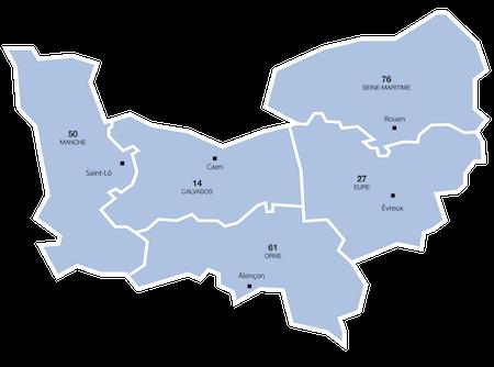 Caen, Rouen, Evreux, Saint-Lô, Alençon