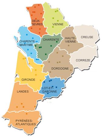 Poitiers, Limoges, Bordeaux, Pau, Mont-de-Marsan, Agen, Périgueux, Tulle, Guéret, Angoulême, Niort, La Rochelle
