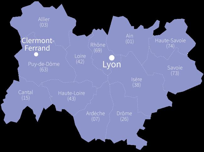 Aurillac, Moulins, Le Puy-en-Velay, Clermont-Ferrand, Privas, Valence, Bourg-en)Bresse, Annecy, Chambéry, Grenoble