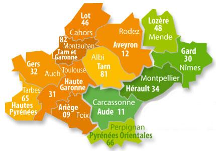 Toulouse, Montpellier, Nîmes, Mende, Rodez, Cahors, Montauban, Auch, Tarbes, Foix, Carcassonne, Perpignan