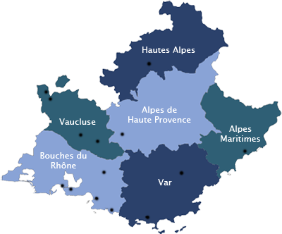 Marseille, Nice, Toulon, Avignon, Digne les Bains, Gap